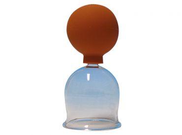 Schröpfkopf Ø 6,5 cm, dünnwandiges mundgeblasenes Glas, mit Olive, mit Ball 1x1 Stück