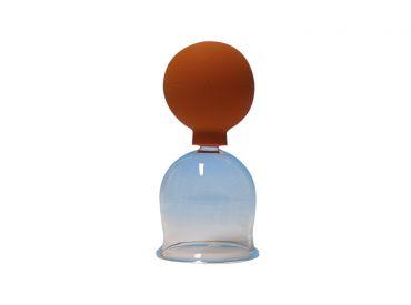 Schröpfkopf Ø 3,5 cm, dünnwandiges mundgeblasenes Glas, mit Olive, mit Ball 1x1 Stück