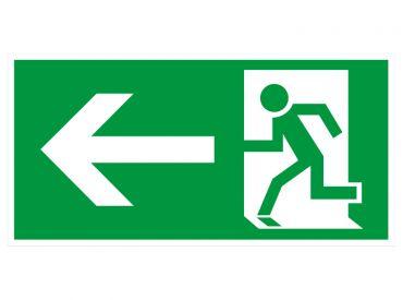 """Hinweisschild """"Rettungsweg links"""" KNS = Kunststoff langnachleuchtend und selbstklebend 1x1 items"""