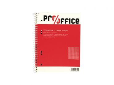 Pro/office Kollegeblock DIN A5, kariert, 80 Blatt, Spiralbindung 1x1 Stück
