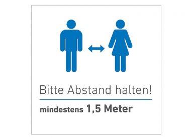 "INTERMED Aufkleber ""Bitte Abstand halten"", quadratisch, 20 x 20 cm, 1x1 items"