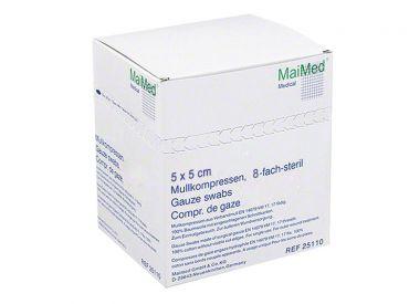 MaiMed® - MK Mullkompresse 5 x 5 cm steril 8-fach 25x2 Stück