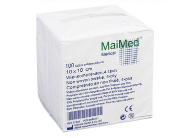 Maimed® - VK Vlieskompressen 10 x 10 cm unsteril 4-fach 1x100 Stück