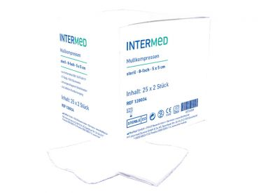 INTERMED Mullkompressen - 8-fach, 5 x 5 cm, steril 25x2 Stück