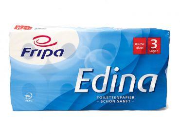 Toilettenpapier Fripa Edina 3-lagig, 250 Blatt, hochweiß 1x8 Rollen