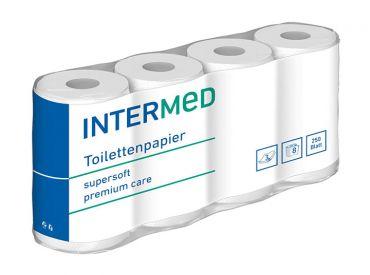 INTERMED Toilettenpapier, 3-lagig, 250 Blatt, weiß 1x8 Rollen