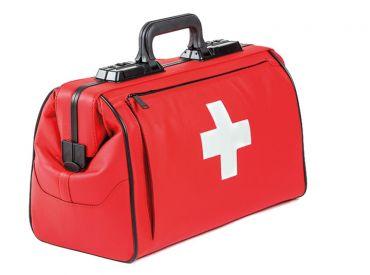 Arzttasche Rusticana Cross, Großformat mit 1 Vortasche, Feinrindleder rot, 1x1 Stück