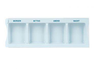 Medikamenten-Dispenser mit 4 Fächern, 225 x 80 mm, weiß 1x1 Stück