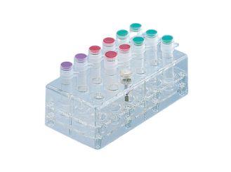 Ständer mit 18 Bohrungen aus Polycarbonat (PC), transparent, Raster: 3 x 6, Außenmaße (BxLxH): 70 x 137 x 40 mm 1x1 Stück