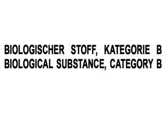 """Aufkleber """"Biologischer Stoff-Kat B"""" 1x1 Stück"""