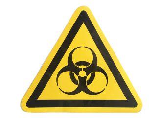 """Hinweisschild Warnung vor """"Biogefährdung"""" selbstklebende Folie 1x1 Stück"""