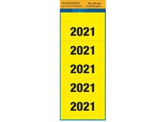 Jahresschild (Etiketten) 2021, gelb, 60 x 26 mm, 1x100 Stück