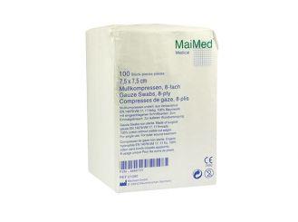 MaiMed® - MK Mullkompressen 7,5 x 7,5 cm unsteril 8-fach 1x100 Stück