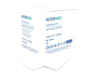 INTERMED gauze compresses - 8-fold, 10 x 10cm, sterile 25x2 items