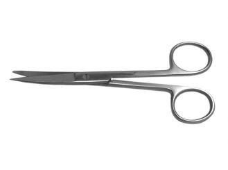 Einmalinstrument (steril) - Chirurgische Schere, schlank, gebogen, spitz / stumpf, 14,5 cm 1x10 items
