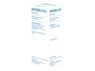INTERMED hCG test strips, bulk-packed in the dispenser box, 1x25