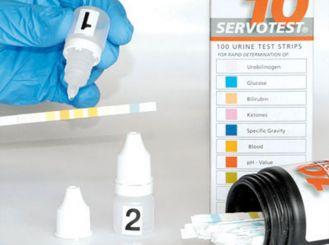 Servotest® Kontrollurin für Teststreifen, 2 Dropperflaschen á 5ml, 1x1 Pack