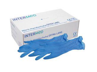 INTERMED Nitril-Handschuhe EXTRA LANG blau, Gr. XS 1x100 Stück