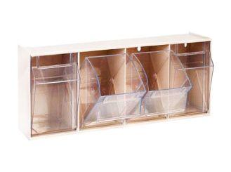 Kanülenspender, weiß, 4 Schwenkkästen, 600 x 140 x 205 mm (B x T x H) 1x1 Stück