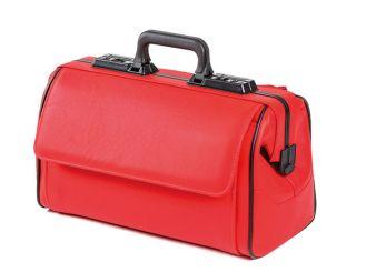 Arzttasche Rusticana Cross, Großformat mit 2 Vortaschen, Feinrindleder rot, 1x1 Stück
