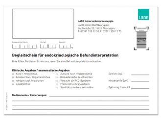Begleitschein endokrinologische Befundinterpretation Neuruppin 1x20 Stück